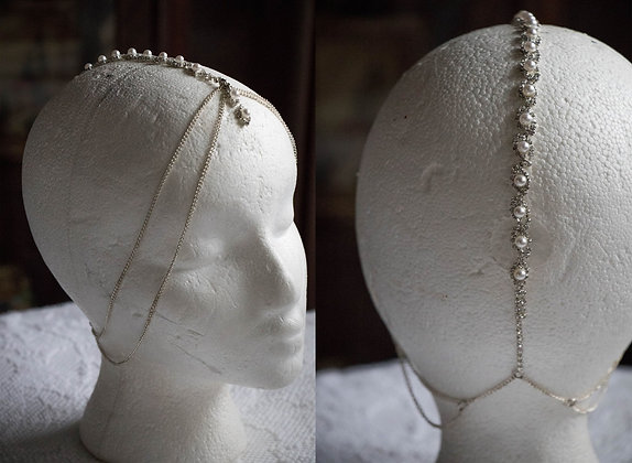 Rhinestone and Pearl Mohawk Headchain