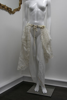 Tiered Cream Lace and Chiffon Mori Skirt