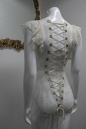 White Lace Cap Sleeve Bodysuit Corset