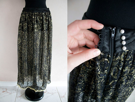Black and Gold Sequin Maxi Skirt
