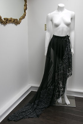 Black and Silver Pleated Lace Over Skirt