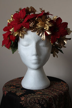 Gold and Red Poinsettia Floral Crown