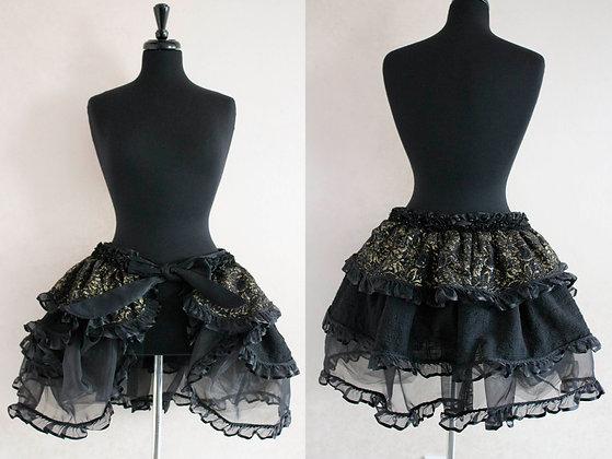 Black and Gold Sequin Wrap Bustle Mini Skirt