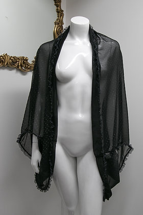 Black Sheer Robe with Silver Specks