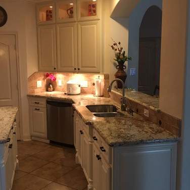 Traditional kitchen cabinets.