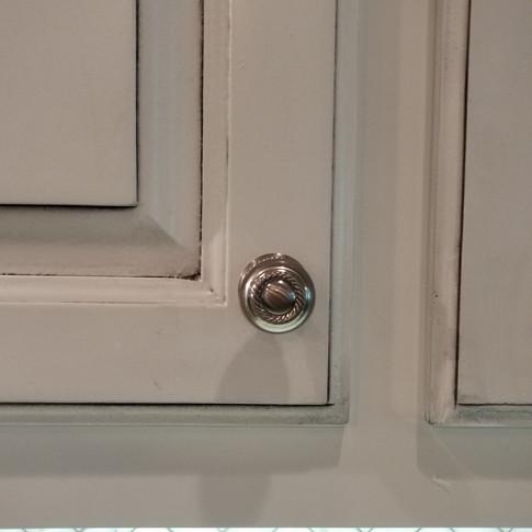 White glazed cabinets