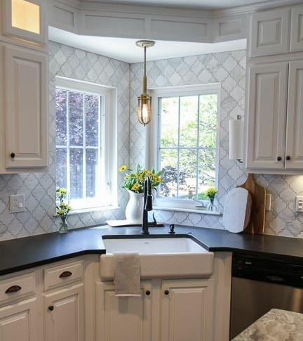 Traditional custom cabinets.