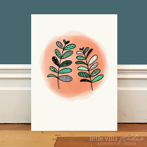 Patterned Plants on Peach