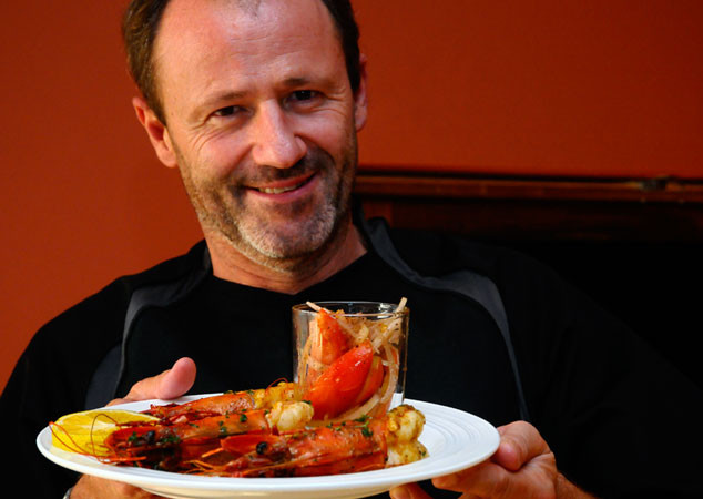Alois Weiss with tiger prawns