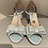 Thumbnail: Charlotte Mills Blue Low Block Heel Shoe with Glitter Heel