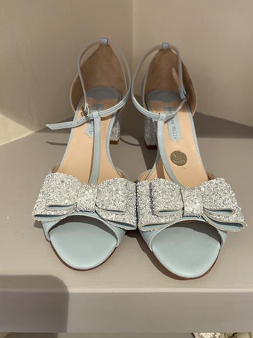 Charlotte Mills Blue Low Block Heel Shoe with Glitter Heel