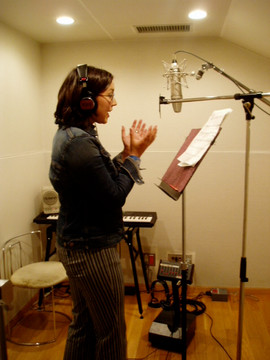 In the studio recording a song for one of the segments of Shimajiro TV show I was on