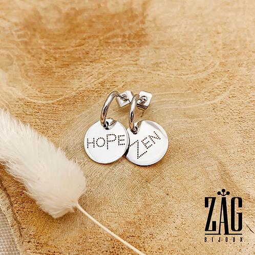Boucles d'oreilles Zen (acier chirurgical plaqué or gris)