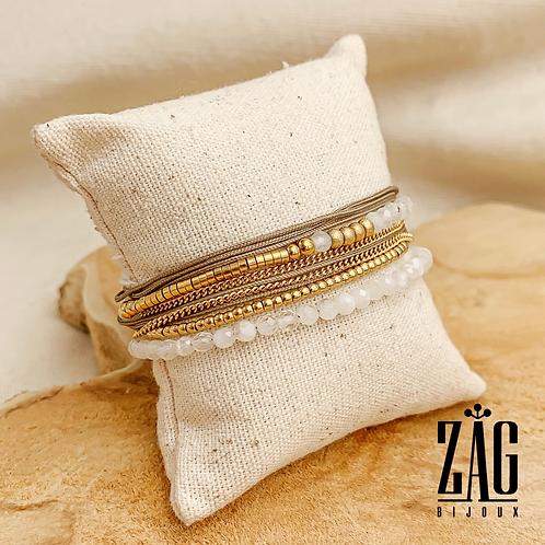 Bracelet Erika (acier chirurgical plaqué or & pierre fine)