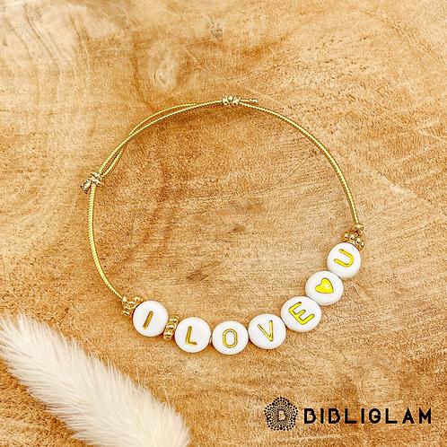 Bracelet I Love U (élastique doré)