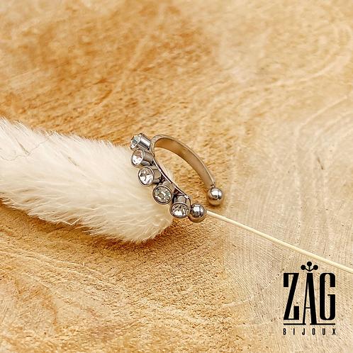 Bague d'oreille Ea (acier chirurgical plaqué or gris & oxydes de zirconium)