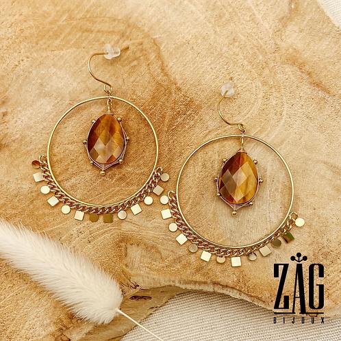 Boucles d'oreilles Liv (acier chirurgical plaqué or & Oeil de Tigre)