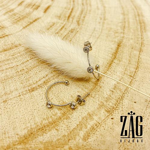 Boucles d'oreilles Fallone (acier chirurgical plaqué or gris)