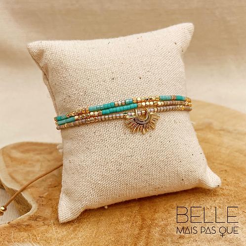 Bracelet Azura (plaqué or & perles de myuki turquoises)