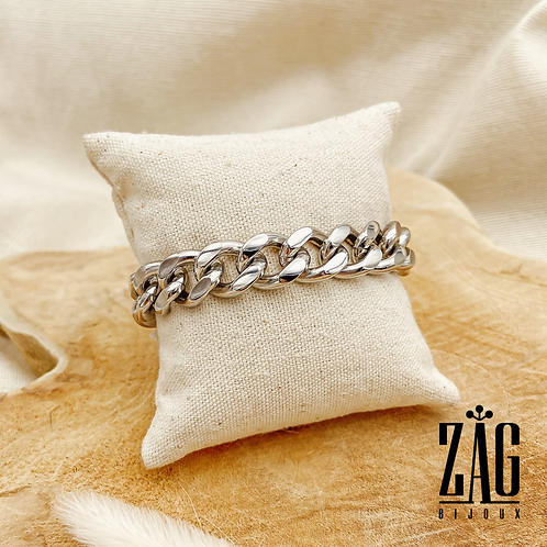Bracelet Angela (acier chirurgical plaqué or gris)