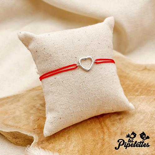 Bracelet cordon personnalisable Petit Coeur (argent)