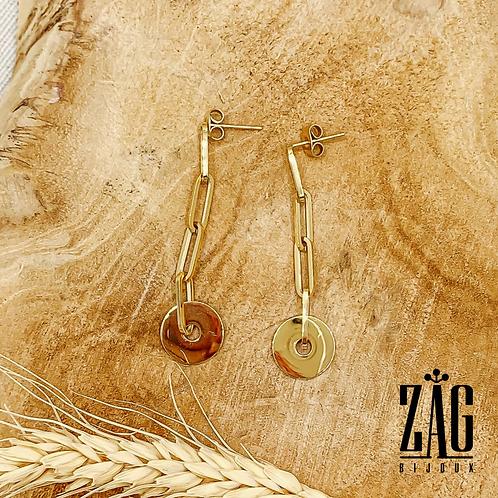 Boucles d'oreilles Links (acier chirurgical plaqué or)