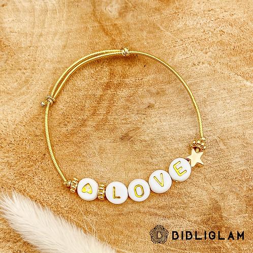 Bracelet Love (élastique doré)