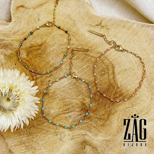 Bracelet Lésia pierres semi-précieuses (acier chirurgical plaqué or)