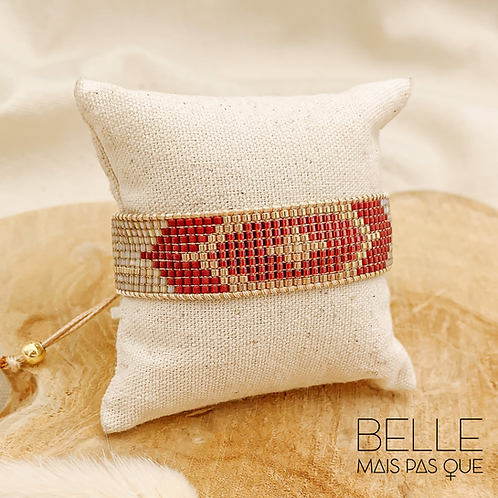 Bracelet Aztec Red (plaqué doré)