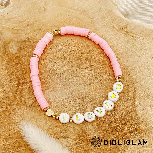 Bracelet I Love U (perles de polymère)