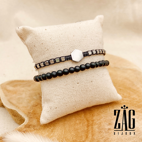 Bracelet Daddy (acier chirurgical plaqué or gris & pierres fines)