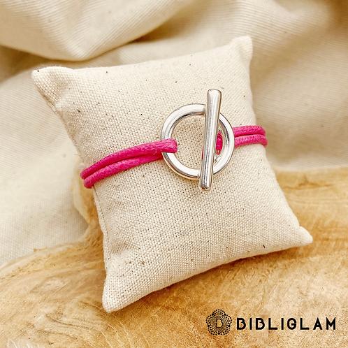 Bracelet Liloo cordon rose (métal argenté)