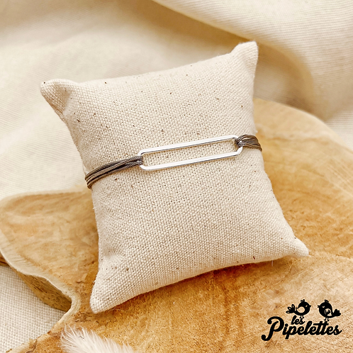 Bracelet cordon personnalisable Barre (argent)