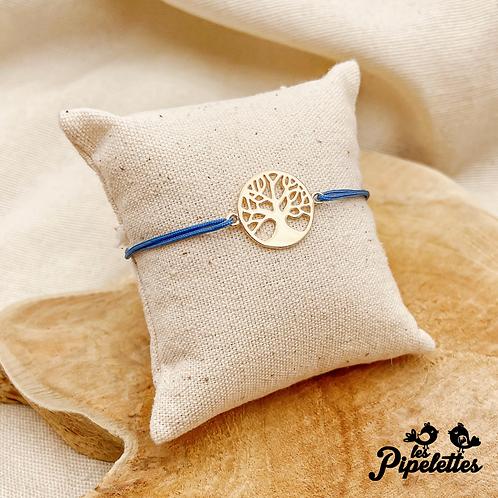 Bracelet cordon personnalisable Arbre de vie (argent & plaqué or)