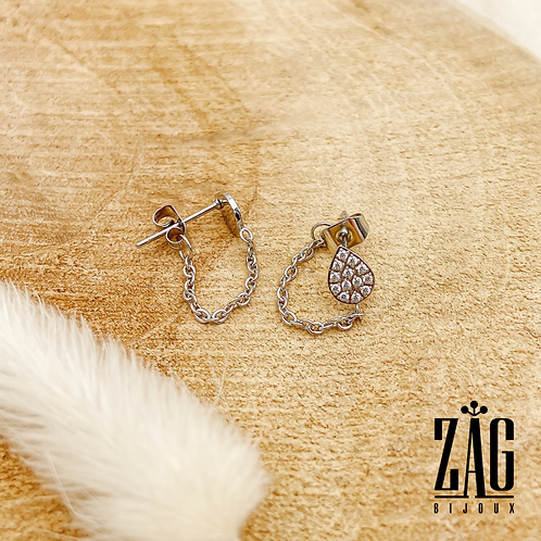 Boucles d'oreilles chaîne et gouttes (acier chirurgical plaqué or gris)