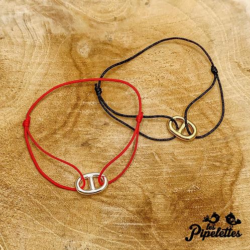 Bracelet Maille Marine cordon personnalisable (argent & plaqué or)