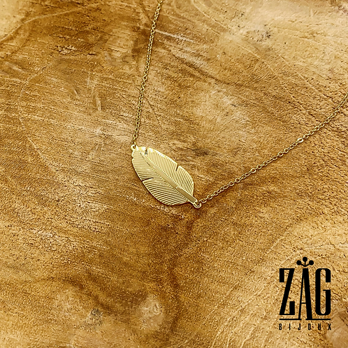 Collier Leaf (acier chirurgical plaqué or)