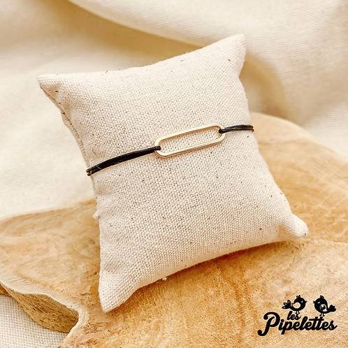 Bracelet cordon personnalisable Mini Barre (plaqué or)