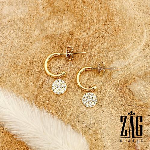 Boucles d'oreilles Rita (plaqué or & oxydes de zirconium)