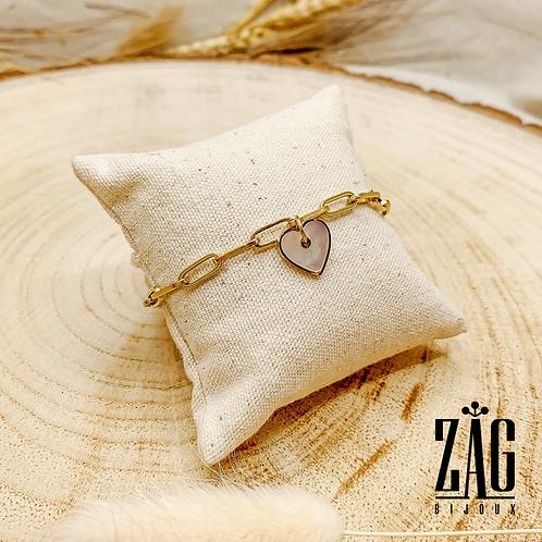 Bracelet Heart (acier chirurgical plaqué or & pierre fine)