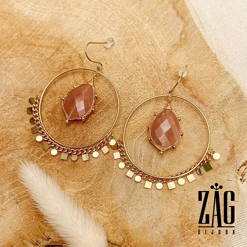 Boucles d'oreilles Liv (acier chirurgical plaqué or et pierre fine)