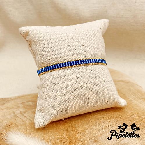 Bracelet Kirsty (doré avec perles de myuki couleur bleu roi)