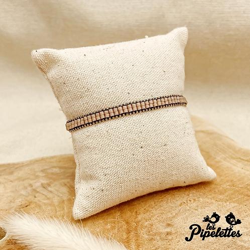 Bracelet Kirsty (argenté avec perles de myuki couleur café)