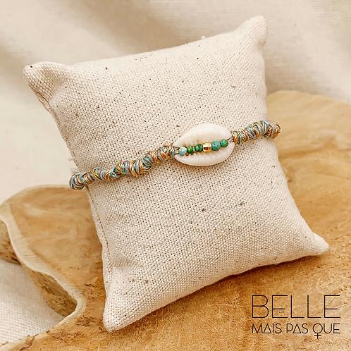 Bracelet Cory couleur verte ( Coquillage Corie & fils lurex)