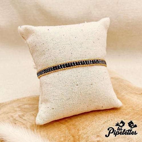 Bracelet Kirsty (doré avec perles de myuki couleur noir)