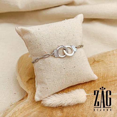 Bracelet Anaïs (acier chirurgical plaqué or gris & pierres fines)
