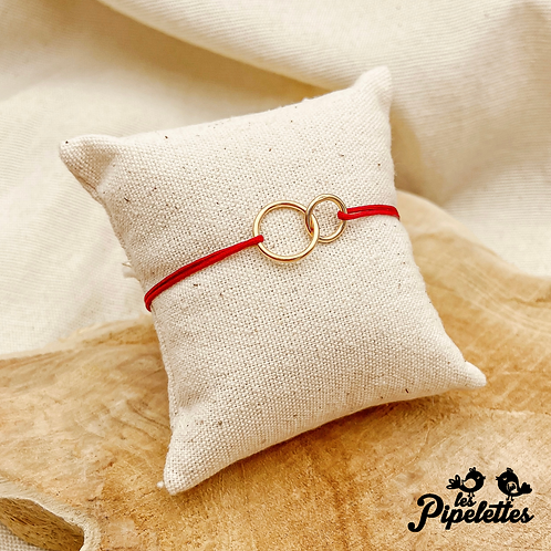 Bracelet cordon personnalisable Mini Toi & Moi (argent & plaqué or)