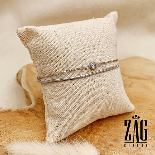 Bracelet Auria (acier chirurgical plaqué or gris)