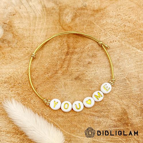 Bracelet You & Me (élastique doré)