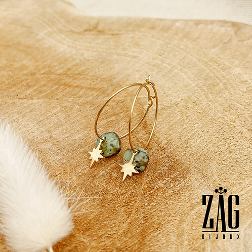 Boucles d'oreilles Constellation & Pierre (acier chirurgical plaqué or)